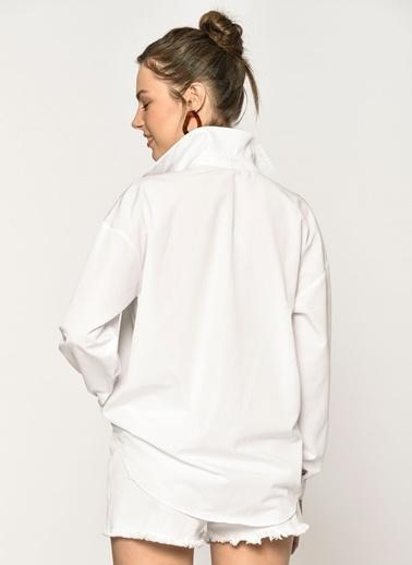 Loves You Leopar File Detaylı Gömlek Beyaz
